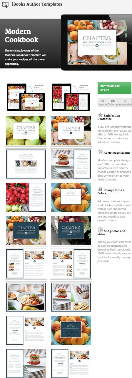 Create your own cookbook! iBooks Author Cookbook Template from www.ibooksauthortemplates.com