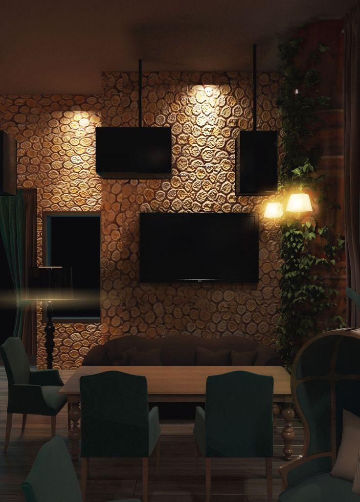 Диван шоколадного цвета, деревянные спилы на стене. Редизайн караоке-бара.