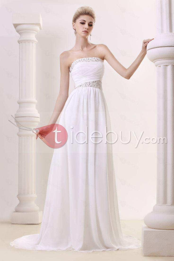 エンパイアストラップレススリーブレスビーズ床までの長さチャペルトレインウェディングドレス