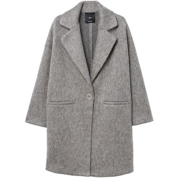 Unstructured Mohair-Blend Coat (£35) ❤ liked on Polyvore featuring outerwear, coats, jackets, coats & jackets, long sleeve coat, oversized coats, fur-lined coats and mango coats