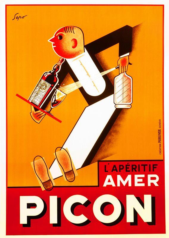 (Severo Pozzati) Sepo Poster: l'Aperitif Amer Picon