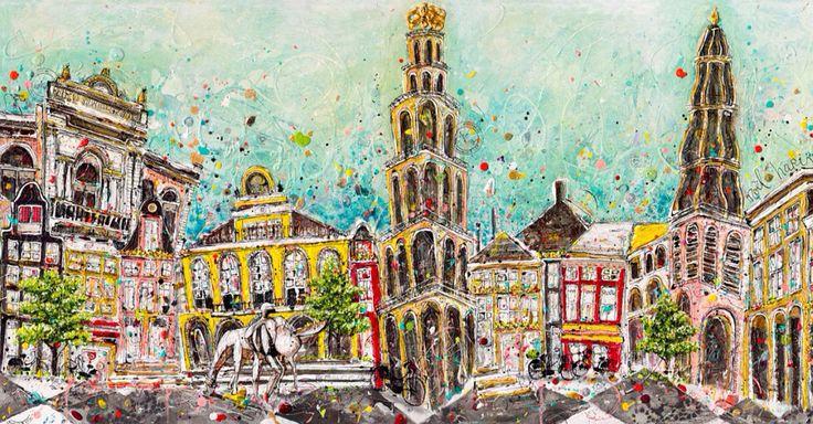 Painting 'ons grunn' by Noël Hariri, artnoel.nl. 140x70. Mixed media en acrylic  Info, ontwerp en meer vrolijke kunst? Check artnoel.nl of mail me: info@artnoel.nl.