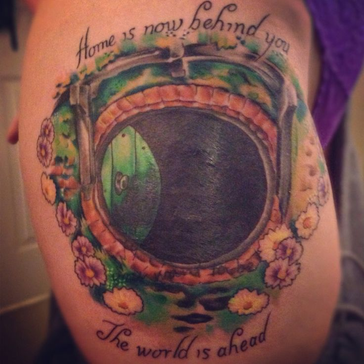 """The Hobbit Tattoo - Tattoo Cover Up - Hobbit Door - Thigh tattoo - """"Home is now behind you, the world is ahead!"""" - Gandalf"""