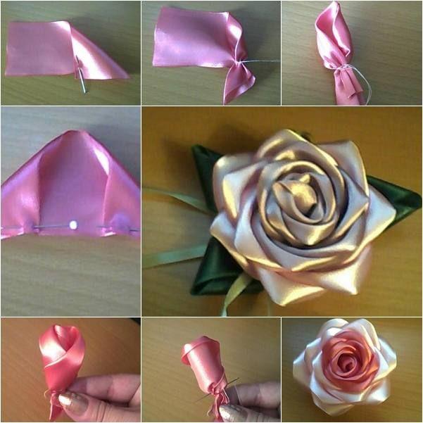 Розы из лент своими руками (75 фото)