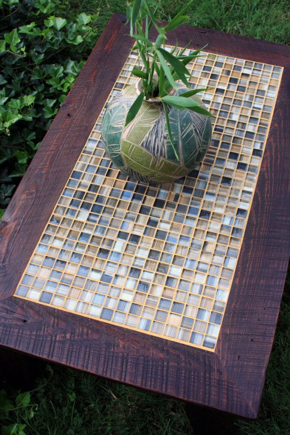 """Coffee Table, Tile Mosaic, Reclaimed Wood, Rustic Contemporary, """"Bamboo Beach"""", Dark Brown Wax Finish - Handmade on Etsy, $525.00"""