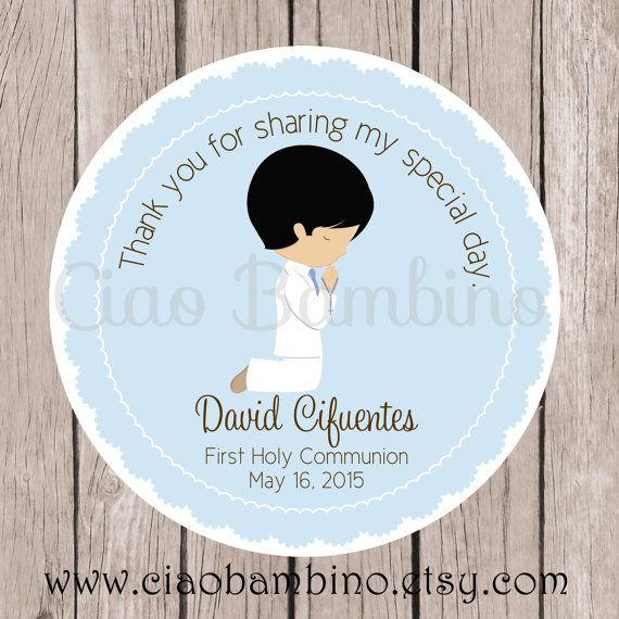 Boys First Holy Communion Favor Tags or Stickers in by ciaobambino