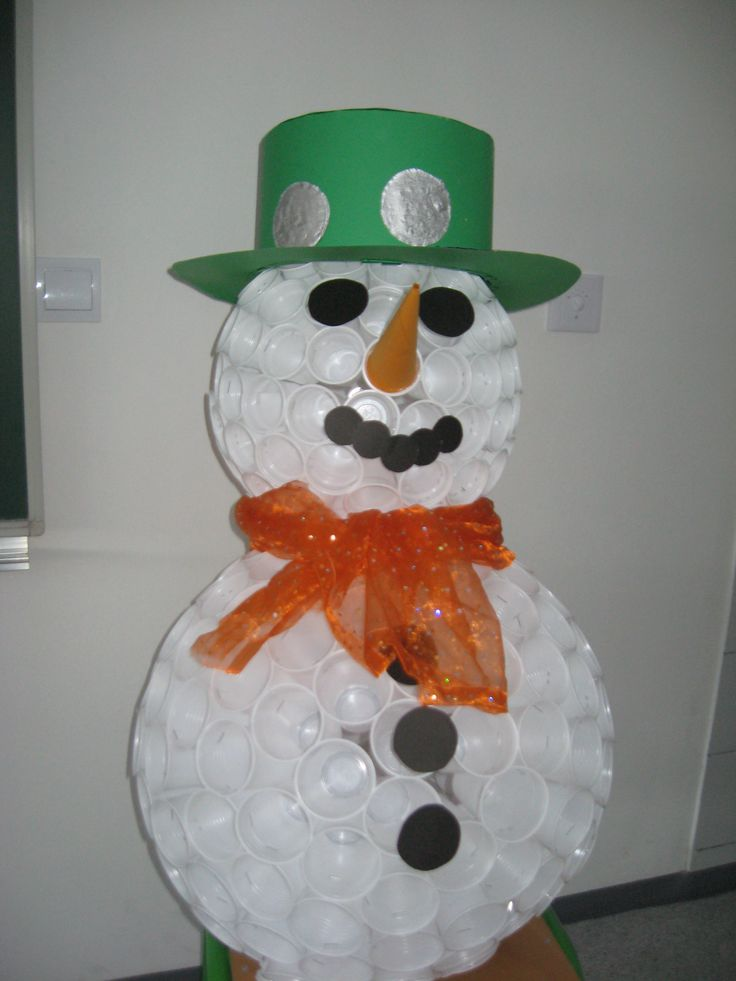 Plastic cup snowman christmas crafts decorations for Plastic snowman