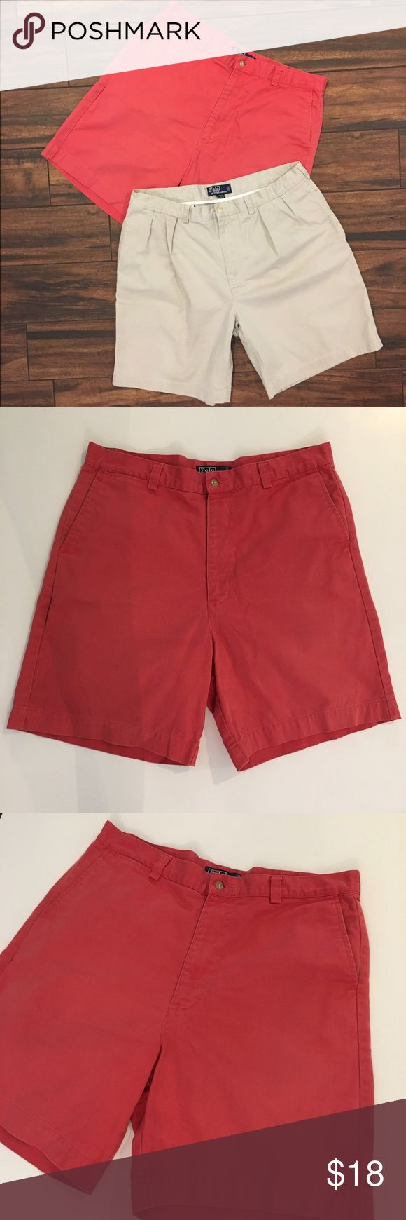 2 Pairs of Polo Ralph Lauren Shorts 2 pairs of classic Polo by Ralph Lauren shorts. There are no rips, stains, or tears on the salmon colored shorts. The last two photos show minor wear on the last pair of shorts. Both size 38. Polo by Ralph Lauren Shorts