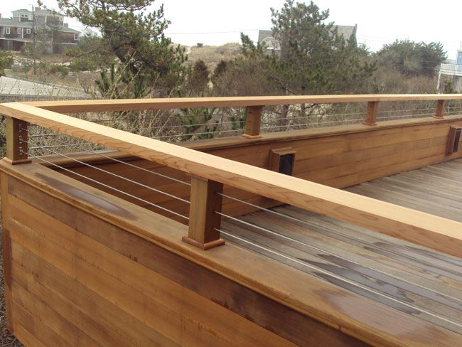 cable deck rail solid surface best of both worlds - Wall Railings Designs
