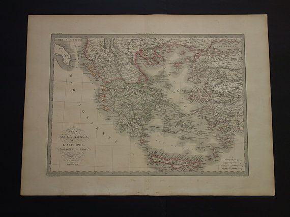 1842 GREECE old map of Greece  LARGE original by VintageOldMaps