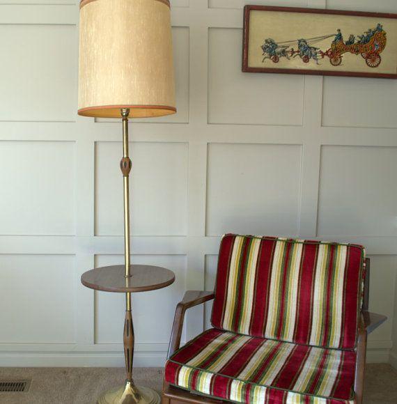 Mid Century Modern Floor Lamp, Vintage Floor Lamp with Table, Scandinavian Floor…