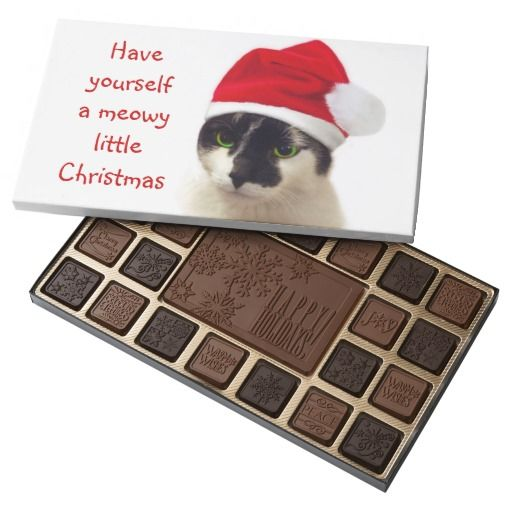 Our lovely cute cat wearing Santa's hat, wishing you happy meowy Christmas! / 45 Piece Assorted Chocolate Box  #fomadesign
