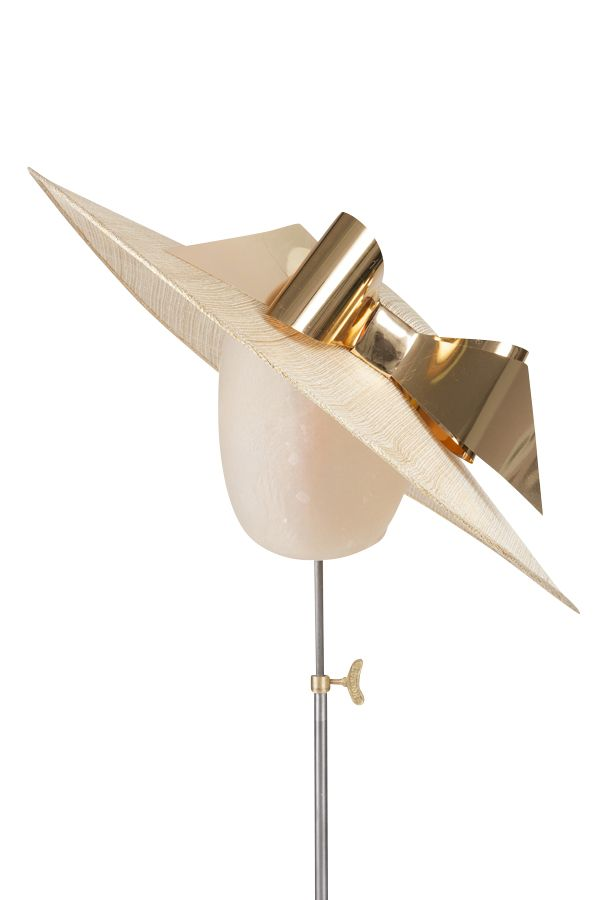 Gorgeous cream and gold sinamay large brimmed boater. Detailed with  abstract gold bow, this pieces has been designed to sit at slant to create  height. Perfect for a summer wedding, garden party or Ascot.  Worn by Cheryl Cole for the month of August in her 2015 calendar.  Secured using a b