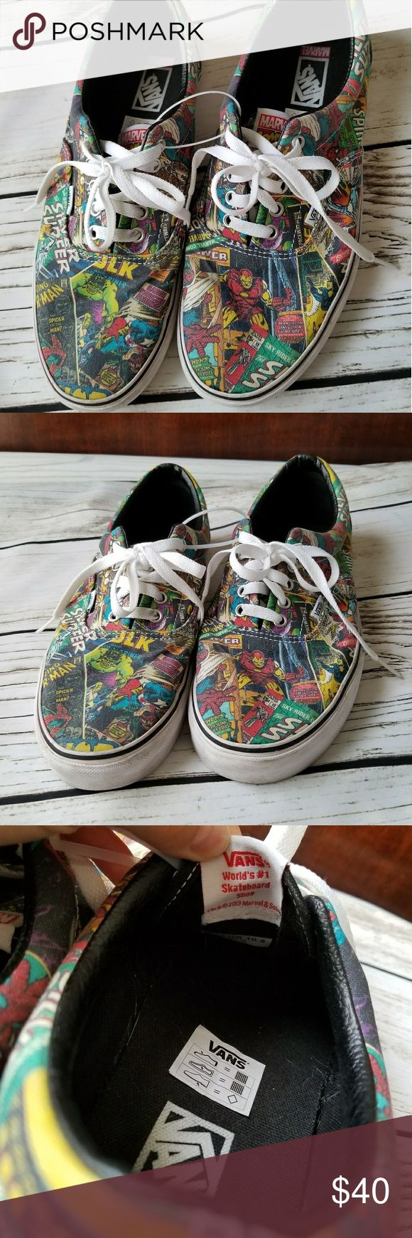 Vans Marvel COMICS snickers shoes 10.5 skateboard Excellent used condition-  worn once  Vans   WORLDS #1 skateboard shoes  Size 10.5 US  MARVEL COMICS PRINT- RARE  from smoke free home Vans Shoes Sneakers