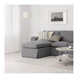 IKEA - EKTORP, 2-seters sofa og sjeselong, Nordvalla lys blå, , Seteputer fylt med høyelastisk polyeter og polyesterfibervatt gir komfortabel støtte til kroppen din, og gjenopptar raskt sin opprinnelige form når du reiser deg.Vendbare ryggputer av polyesterfiber gir myk støtte for ryggen og to sider å slite på.Du kan plassere sjeselongen til venstre eller høyre i sofaen, og endre når du vil.Trekket er enkelt å holde rent, det kan tas av og vaskes i maskin.Et utvalg av koordinerte trekk gjør…