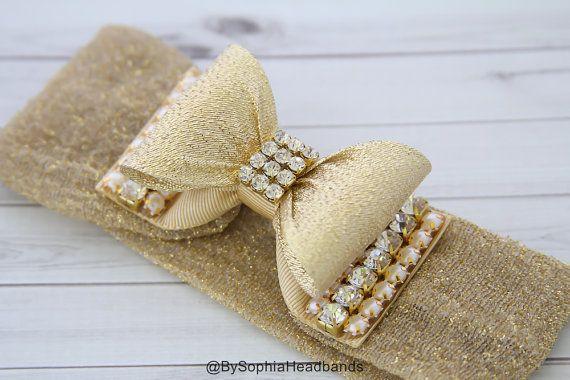 Gold Bow Headband, Gold Baby Headband, Baby Bow Headband, Newborn Headband, Photography Prop, Gold Bow Headband, Rhinestone Headband, 934