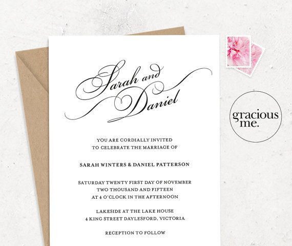 Wedding Invitation & RSVP Card  Printable  by GraciousMeShop