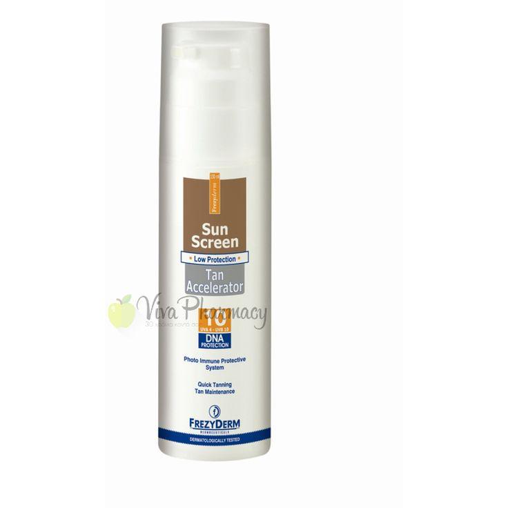 FREZYDERM TAN ACCELERATOR SPF10 150ml - Vivapharmacy.gr - Online Φαρμακείο - Βρείτε καλλυντικά, βρεφικά προϊόντα, συμπληρώματα διατροφής