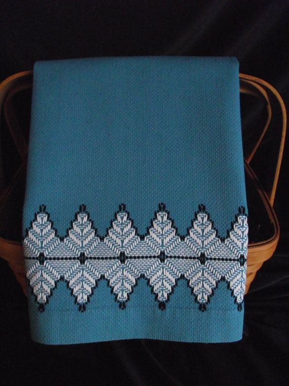Vintage Swedish Weave Blue Huck Toweling Hand Towel via Etsy