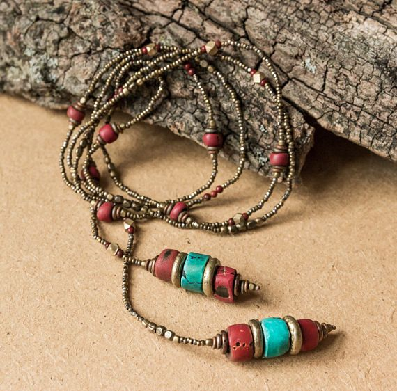 Beaded bohemian lariat necklace/ southwestern jewelry/