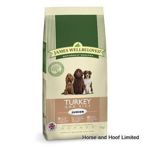 James Wellbeloved Turkey Rice Junior Dog Food 15kg James Wellbeloved Turkey Rice Junior Dog Food only uses one source of protein turkey so you can be confident that your dog is not running into any digestive issues.