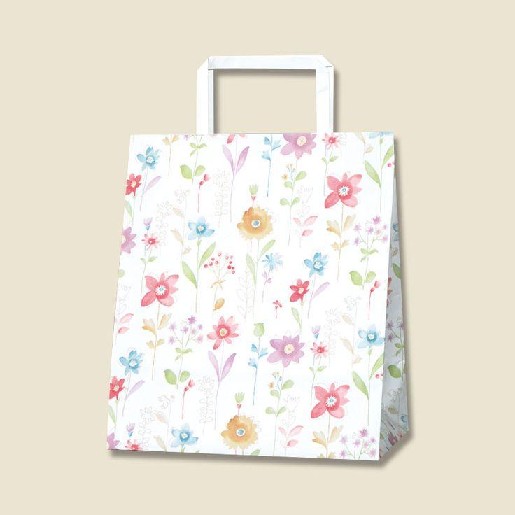 平手の持ち手があるタイプの紙袋です。きれいな花柄の紙手提げ袋です。