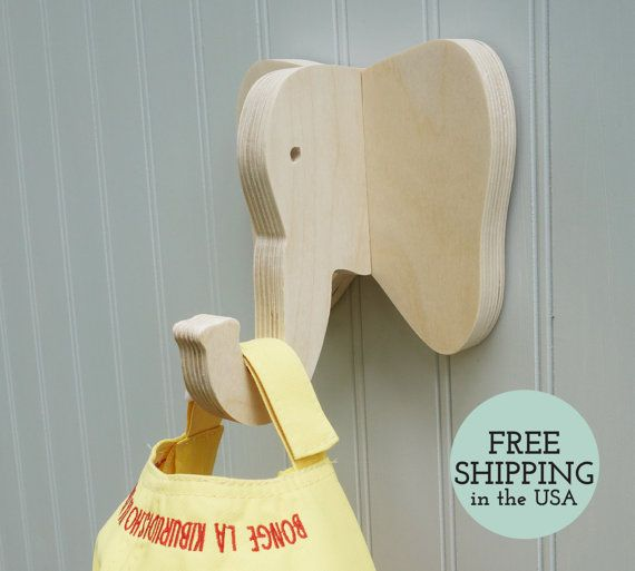 Wall hooks - Elephant wall hook: playful wooden elephant head wall hanger for…