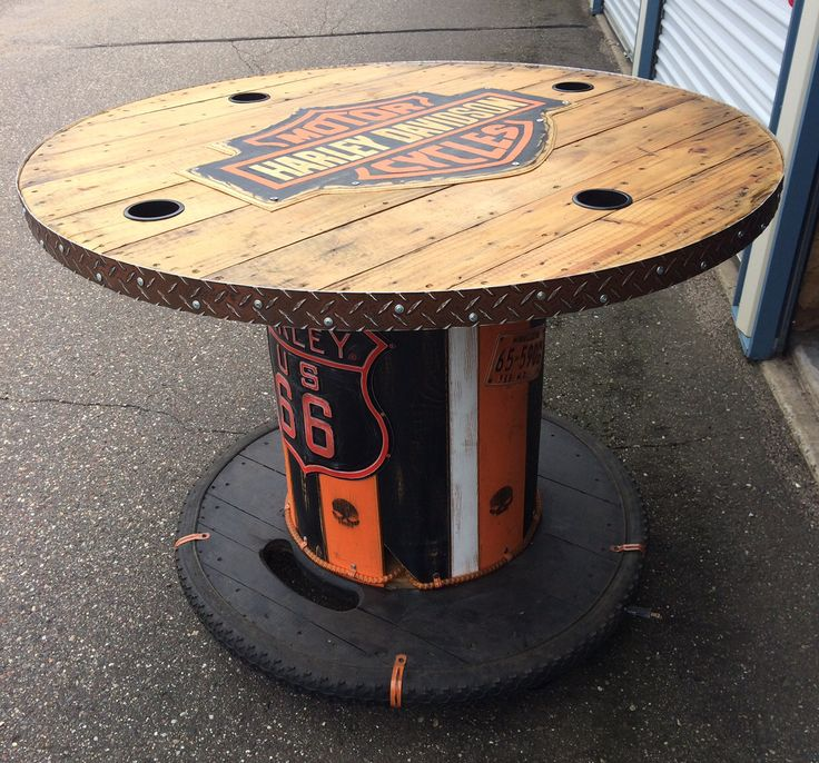exciting cable spool kitchen table | 137 best images about Harley Davidson on Pinterest ...
