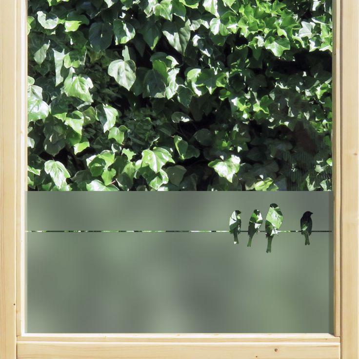 statische raamfolie • Vogels op een draad   statische raamfolie   Uniquewinkel