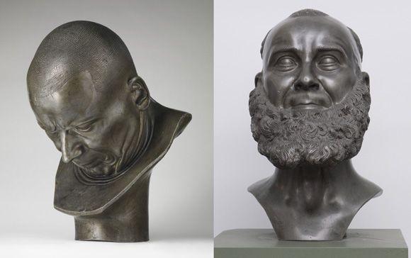 "Franz Xaver Messerschmidt (1736–1783), ""Character Heads"" Series. From left: A Hypocrite and Slanderer, 1771–83, metal cast; ""Capuchin"", ca. 1780, lead-tin cast."