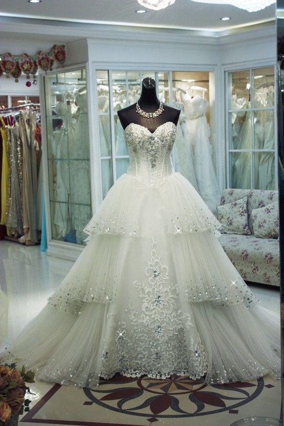gratis verzending 2014 nieuwe mode bruid lange elegante luxe kristal vestidos formele bruids baljurk