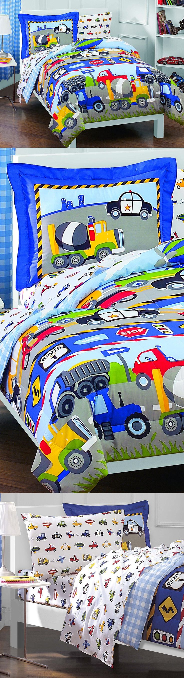 Comforters and Sets 66728: 5-Piece Comforter Sheet Set Trucks Tractors Cars For Boys Twin Size Kids Bedding -> BUY IT NOW ONLY: $48.99 on eBay!