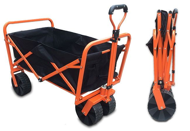 From Sherpa, this excellent Folding Cart. This collapsible folding cart is very versatile. Folding easily away in seconds this cart can be packed down to a fraction of its size allowing you to take it with you in the car, or store it easily in a garage or shed. Capable of carrying up to 150kg, this trolley cart makes light work of carting any load around. The large robust wheels make it easier to pull while the steerable front axle means it goes exactly where you want it to. The front whe...