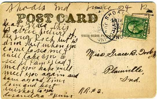 American, 1912, Indiana.  Carefully written address, and much less carefully written message.  Or maybe written by two different people??