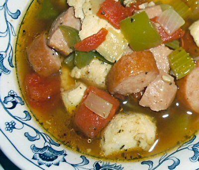 JAMBALAYA SOUP - Linda's Low Carb Menus & Recipes - more low carb soups here: http://www.genaw.com/lowcarb/soup_recipes.html