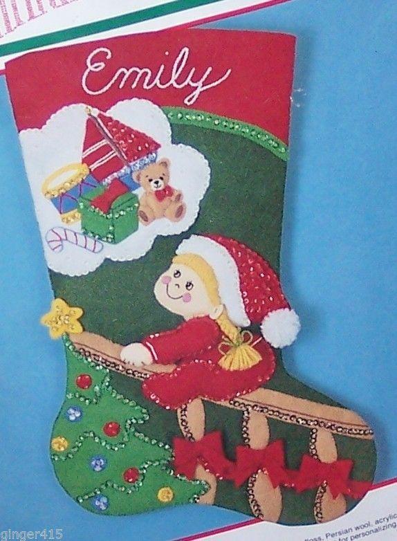 "Bucilla Vintage ""Christmas Dreams"" Felt Stocking Kit Child Completely Sterilized #Bucilla #Holiday"