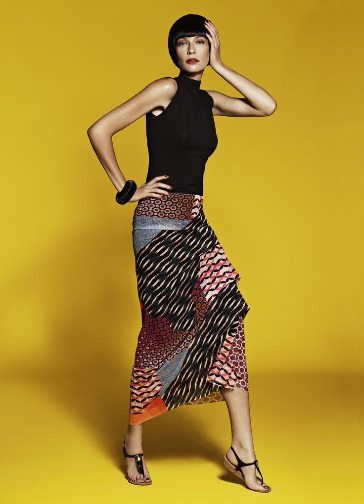 Sleeveless Funnel Neck Top & Side Pleated Skirt