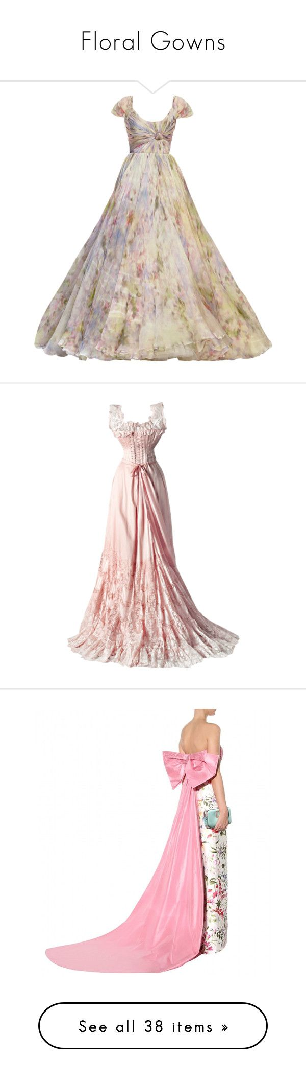 """""""Floral Gowns"""" by robynlari ❤ liked on Polyvore featuring dresses, gowns, long dresses, vestidos, elie saab, elie saab evening gowns, elie saab gowns, elie saab evening dresses, long dress and oscar de la renta"""