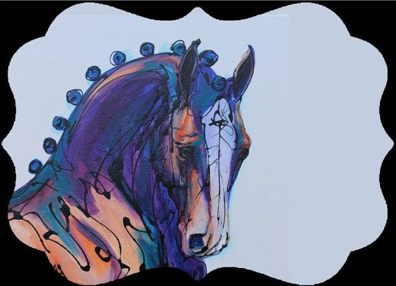 Blue Dressage Head horse Ornament