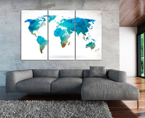 Modern World Map Canvas. Aqua Polygonal World Map Canvas  Geometric Abstract Wall Art 3 4 or 5 Panels world map for Home Office Decor 17 best images on Pinterest maps