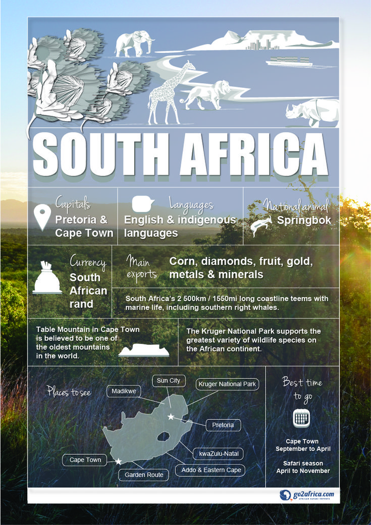 South Africa Country Information infographic. #Africa #Travel
