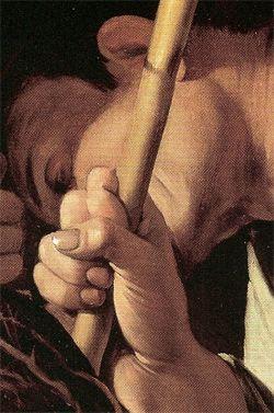 "Caravaggio (1571-1610), ""Incoronazione di spine"", 1603 olio su tela 127x165 cm Vienna, Kunsthistorisches Museum. Partic. mano"