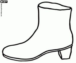 Een laars, een vrouw schoen kleurplaat