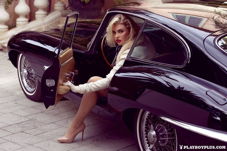 Kayslee Collins Does Playboy Shoot in Jaguar E-Type Coupe: Old Hollywood Glam