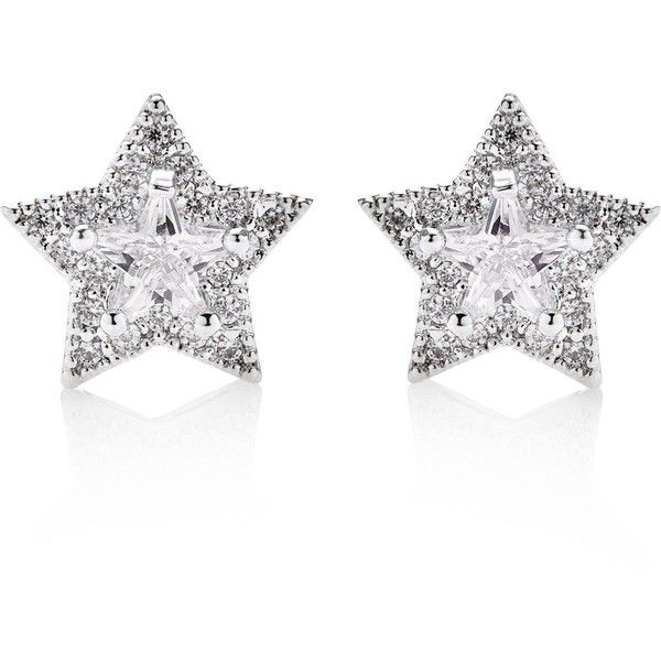 Cz By Kenneth Jay Lane Cubic Zirconia Star Stud Earrings (165 PLN) ❤ liked on Polyvore featuring jewelry, earrings, silver, sparkling jewellery, star stud earrings, sparkly stud earrings, cz stud earrings and cz jewelry