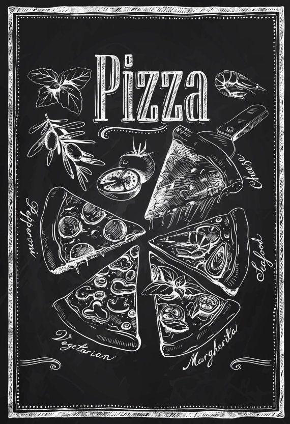 Kitchen Chalkboard-Chalkboard Pizza Types by TimelessMemoryPrints