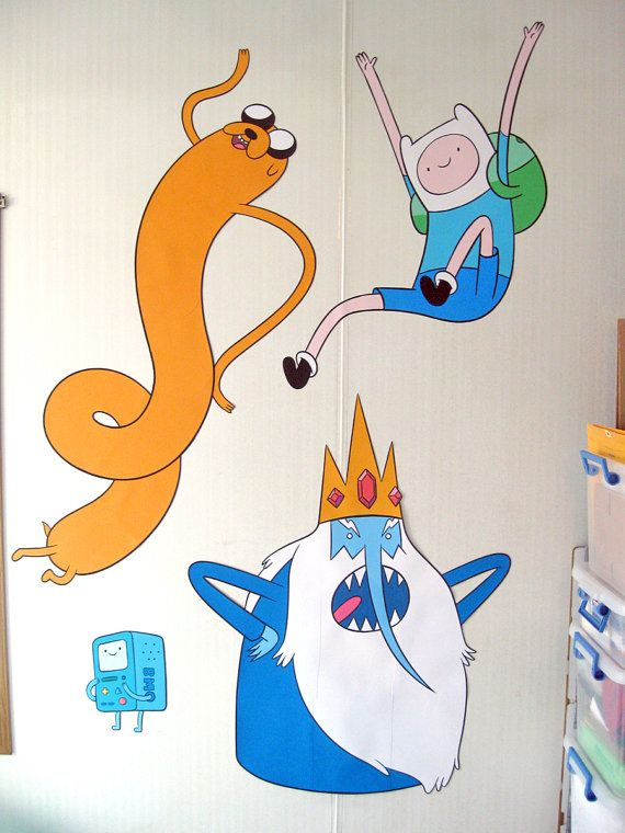 Adventure Time Giant Wall Decorations DIY paper kits; Finn, Jake, Ice King, Beemo, Princess Bubblegum (for birthday party or kids room!)