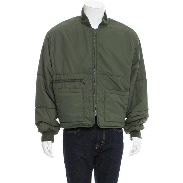 Pre-owned Yeezy Season 3 Puffer Bomber Jacket ($495) ❤ liked on Polyvore featuring men's fashion, men's clothing, men's outerwear, men's jackets, green, mens puffy jacket, mens green bomber jacket, mens zip jacket, mens puffer jacket and mens flight jacket