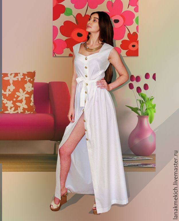 5c149edea75b Buy and order white dress with gold buttons
