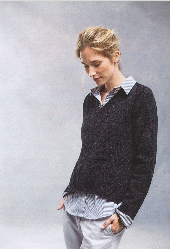 Wake from Brooklyn Tweed: The casual comfort of a cozy raglan is elevated by unusual construction and bold on-the-bias cables. Wake is worked in irregularly shaped pieces with an incisive V-neck and an asymmetric hem that's higher in the front. The version shown here has six inches of ease, but you could knit close to your actual measurements for a more fitted sweater.